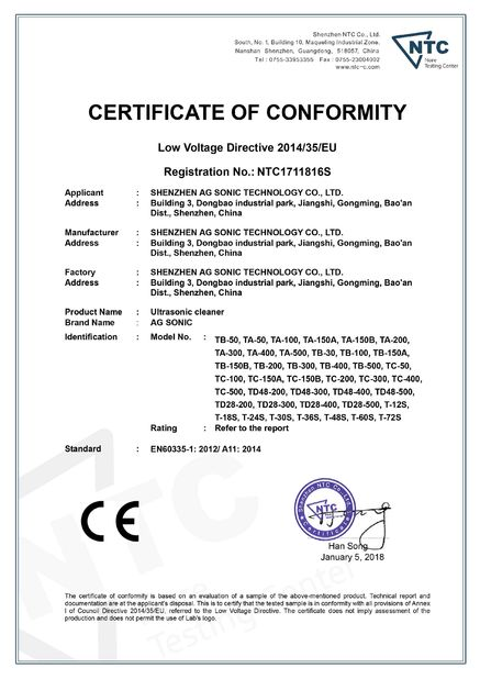 Chine AG SONIC TECHNOLOGY LIMITED Certifications